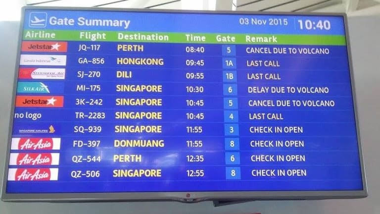 The departures board at Denpasar shows cancellations on Tuesday morning.
