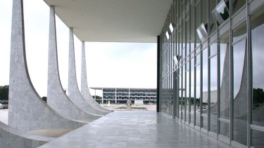 The Brazilian Palace of Justice and Supreme Court in the distance in Brasilia.