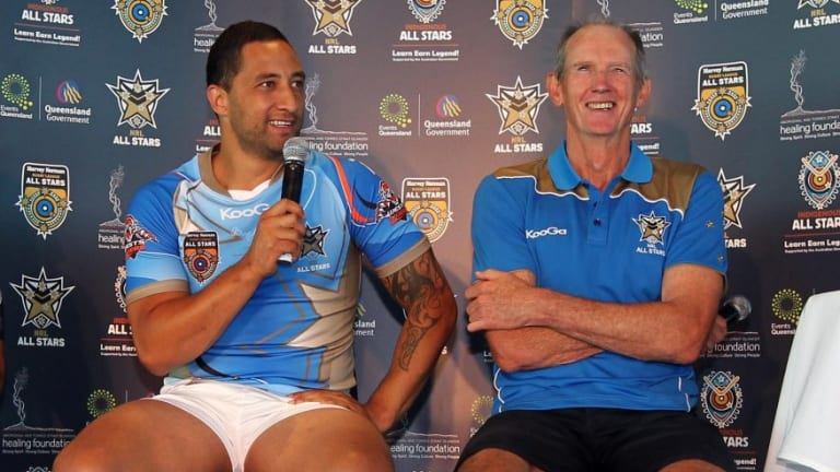 Back together: Benji Marshall and Wayne Bennett at an NRL All Stars press conference.