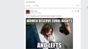 Memes that showed abuse against women were used on the Feminist Week facebook page.