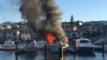 A boat has burst into flames at Mindarie Marina.