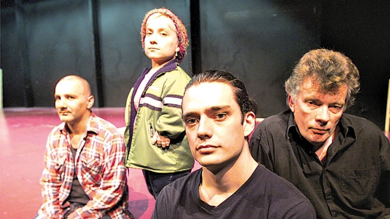 Director Ben Winspear and the cast of <i>Macbeth</i> at the Sydney Theatre Company: Stamell, Arky Michael and Russel Kiefel.