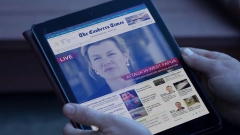 The Foreign Minister makes headlines on the Canberra Times website in the opening episode.