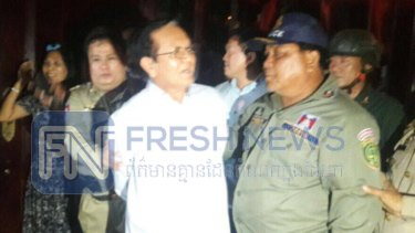 Cambodian Opposition Leader Kem Sohka is arrested by government officials