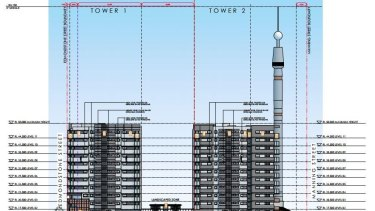 The Skyneedle will tower over Pradella's new development at South Brisbane.