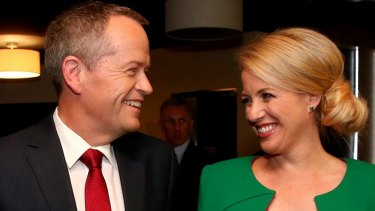 Opposition Leader Bill Shorten with wife Chloe after the debate.