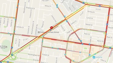 Roads in Footscray are jam-packed after the crash.