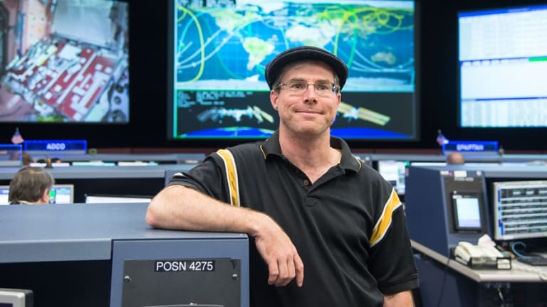 Author Andy Weir during his tour of Johnson Space Centre in Houston.
