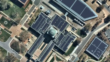 A mock-up of the Australian War Memorial covered in solar panels.