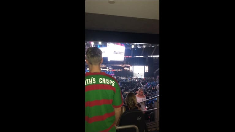 A Random Souths Guy appears at the Floyd Mayweather v Conor McGregor weigh-in in Las Vegas.