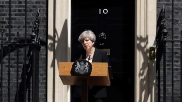 Theresa May speaks about the van attack outside 10 Downing Street.