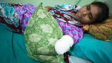 Rojina, 25, lost her hand under the rubble in the Rana Plaza factory disaster in Bangladesh.