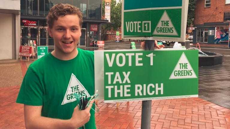 Hayden Williams at a Greens protest.