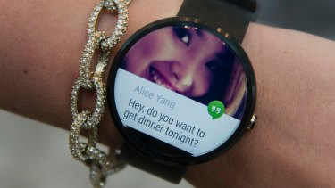 The Motorola Moto 360 watch, which won't be available until the end of the year.