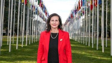 Senator Concetta Fierravanti-Wells speaking in Geneva, as Australia lobbies for a seat at the UN Human Rights Council.
