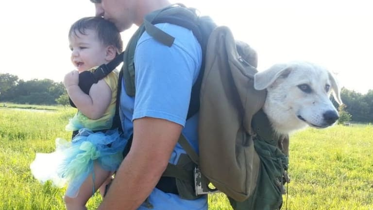 Former US Marine Eric Yarger Snickle Fritz and daughter Charlotte on a fundraising walk. Fritz is a constant companion to Eric who suffers from post-traumatic stress disorder.