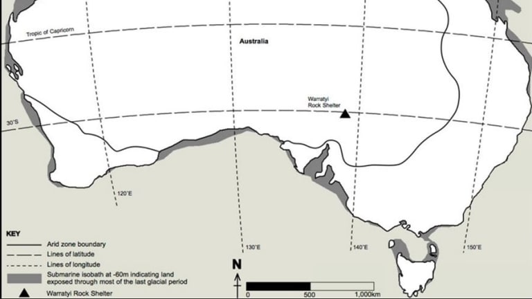 Location of the Warratyi rock shelter in the Flinders Ranges.