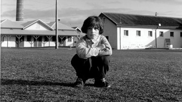 A Kosovar refugee child on the parade ground at Point Nepean Quarantine Station, in 1999.