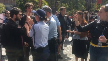 Police intervening at the Sydney University protest.