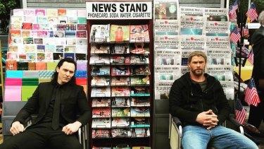 Thor actor Chris Hemsworth tweeted this photo of himself with Tom Hiddleston (Loki) from Brisbane's CBD.