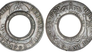 """The 1813 """"holey dollar"""" which goes on auction this month."""