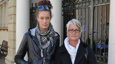 Charlie Maxwell Foster's sister, Macy, and mother Tricia Harrison outside Armidale District Court.