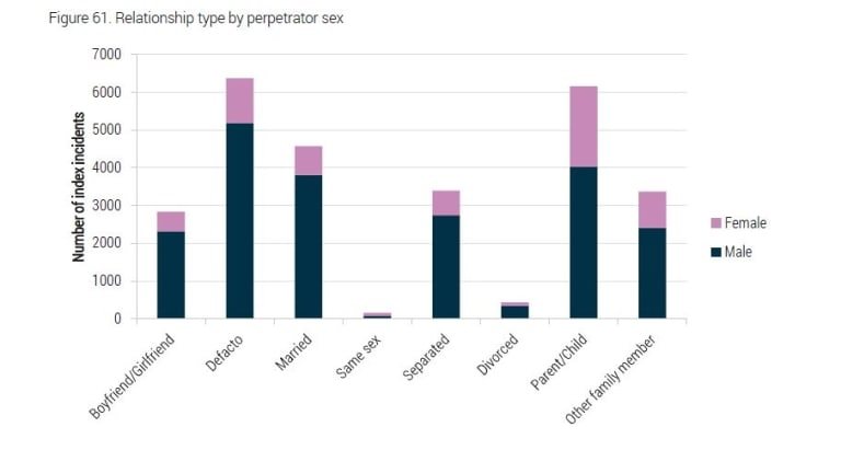 Relationship type by perpetrator sex