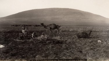 """A 19th-century photograph from Maison Bonfils depicting """"Mount Tabor and the Plain of Esdraelon"""" in a timeless, 'biblical' state."""