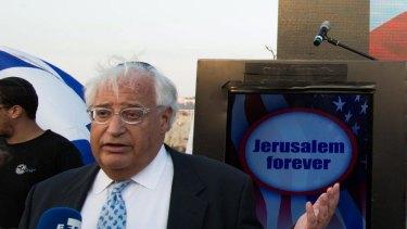 """David Friedman, left, gives an interviews at a Trump campaign event titled """"Jerusalem forever"""" in East Jerusalem in October."""