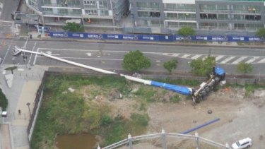 The crane fell at a Newstead construction site.
