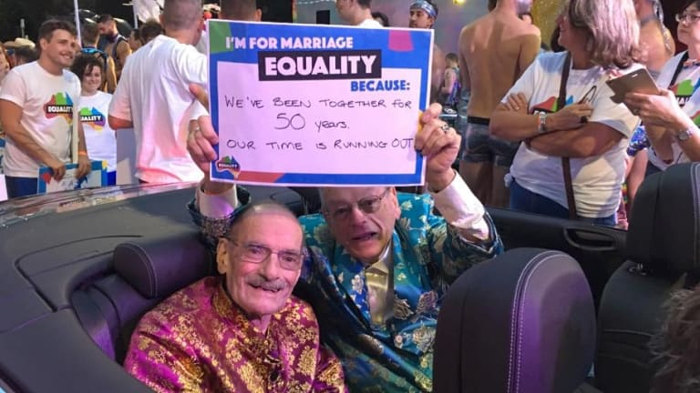 """Peter Bonsall-Boone (left) and Peter de Waal at the Gay Mardi Gras. """"Bon"""" was an active supporter of the Gay Rights Lobby, which had formed in 1980 to steer a law reform movement in NSW."""