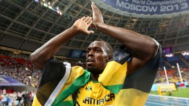 Usain Bolt after winning the 100 metres final at the 2013 IAAF World Championships in Moscow.
