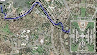 The planned route for a pipeline carrying water from Lake Burley Griffin to Parliament House.