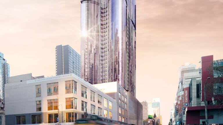 An artist impression of what UEM Sunrise's Aurora 92-storey mixed use tower in the Melbourne CBD will look like.