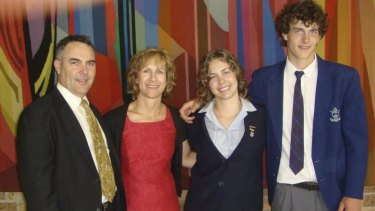 """""""Slowly dying of a broken heart"""": Sarah with her parents Mark and Juliana, and brother Jonathan."""