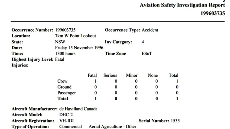 """An investigation report shows the seaplane was """"destroyed"""" in a fatal accident two decades ago."""