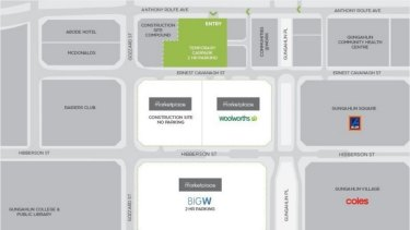 A map showing the location of a new car park and a temporary car park at the Gungahlin town centre.
