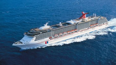 Riding out the storm: The luxury cruise liner Carnival Spirit on calmer waters.