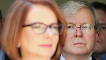 Former prime ministers Julia Gillard and Kevin Rudd.