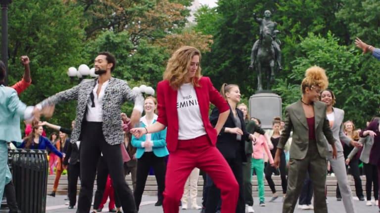 The Pantsuit Power flashmob.