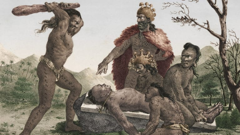 Hawaiian sacrifice, from Jacques Arago's account of French navigator Louis de Freycinet's travels around the world from 1817 to 1820.