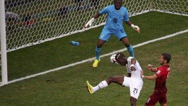 Ghana's John Boye scores an own goal.