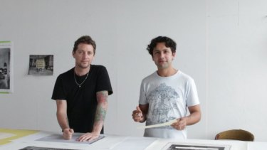 Artists Brook Andrew, left, and Trent Walter, whose design has been chosen for the new Melbourne CBD monument.