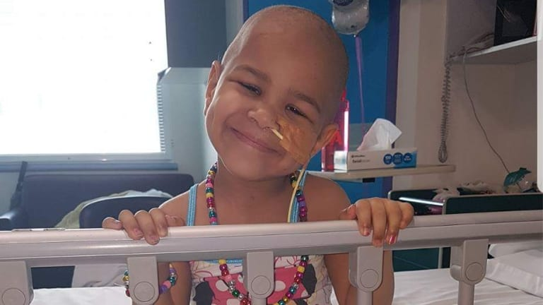 Ivy Exantus at the Children's Hospital in Westmead where she underwent a bone marrow transplant after multiple blood tranfusions.