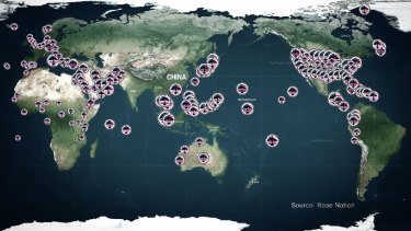 This map, fromJohn Pilger's documentary The Coming War on China, shows US military bases around the world.