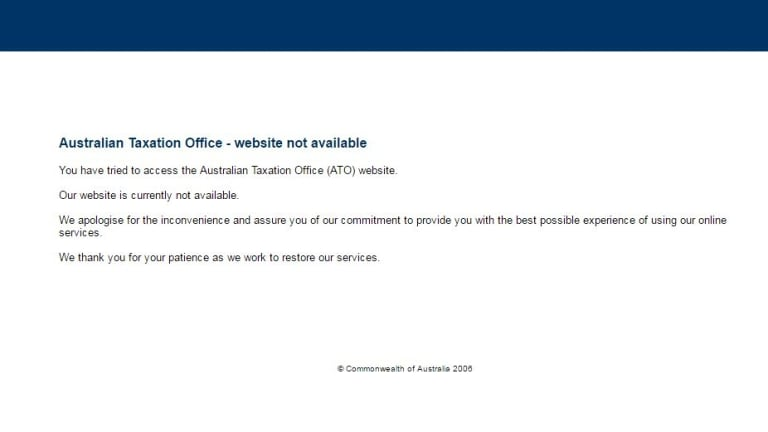 Visitors to the ATO website were greeted with an error message last Thursday and Friday.