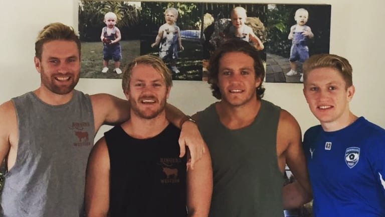ACT Brumbies recruit Matt Lucas with his three brothers. L-R Ben, Matt, Tom and Isaac.