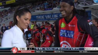 Uncomfortable exchange: Mel McLaughlin's interview with Chris Gayle.