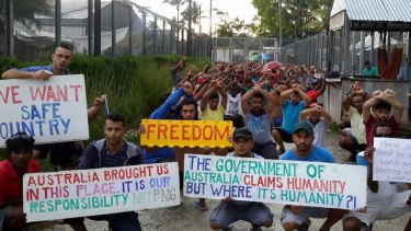 Refugees and asylum seekers protesting inside the now-closed regional processing facility on Manus Island.