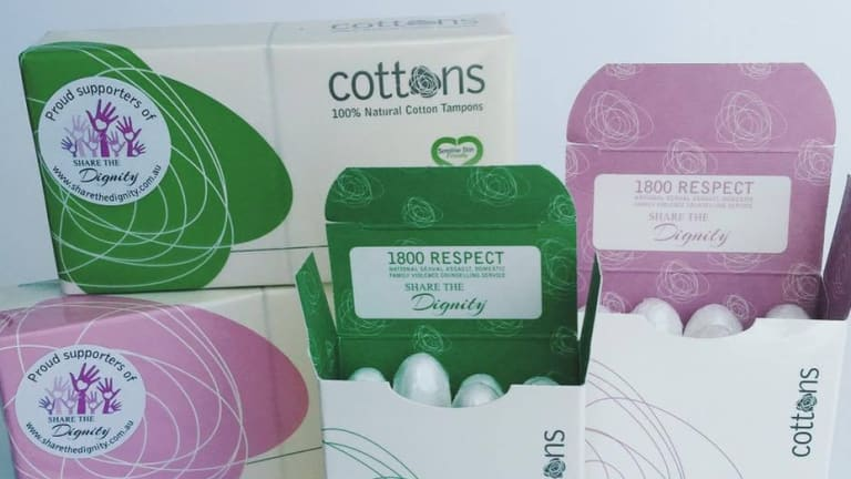 1800RESPECT features on Cottons tampon packets to raise awareness.
